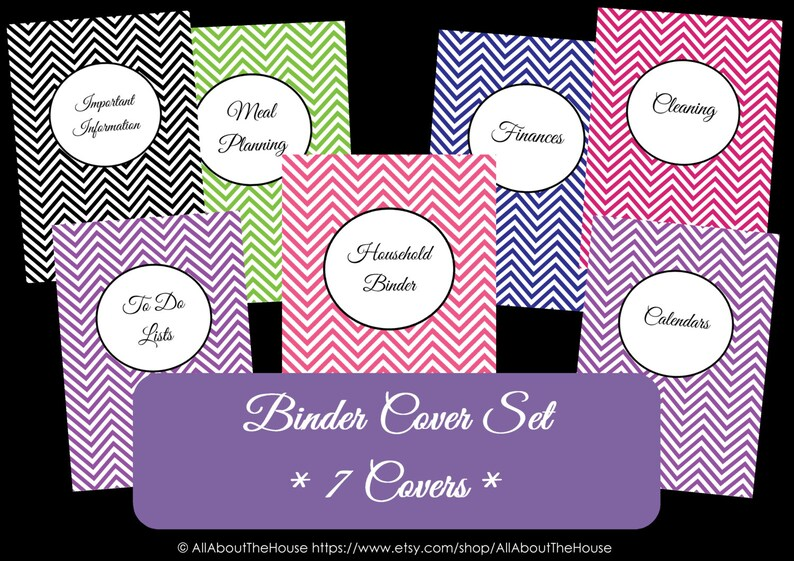 Personalised Binder Covers and Spines  Monogram Chevron image 0