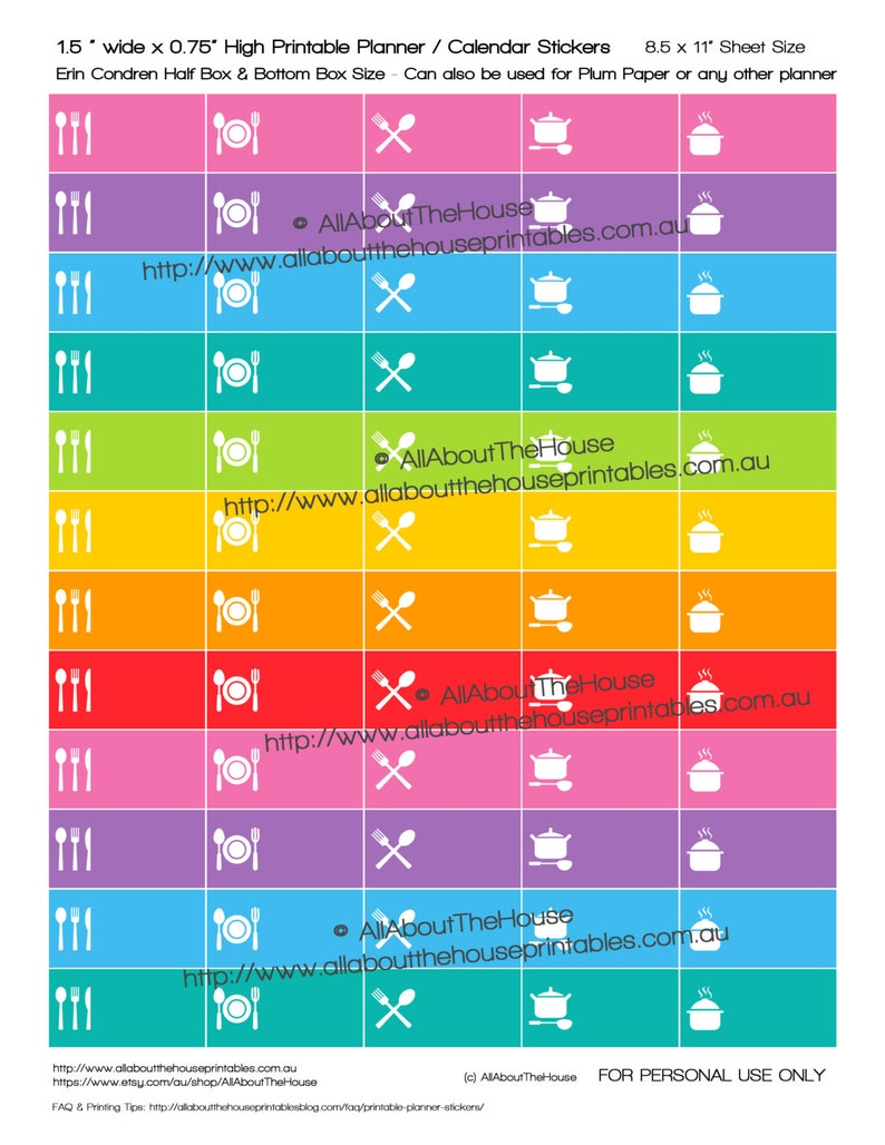 Meal Planning Planner Stickers menu planning dinner printable image 0