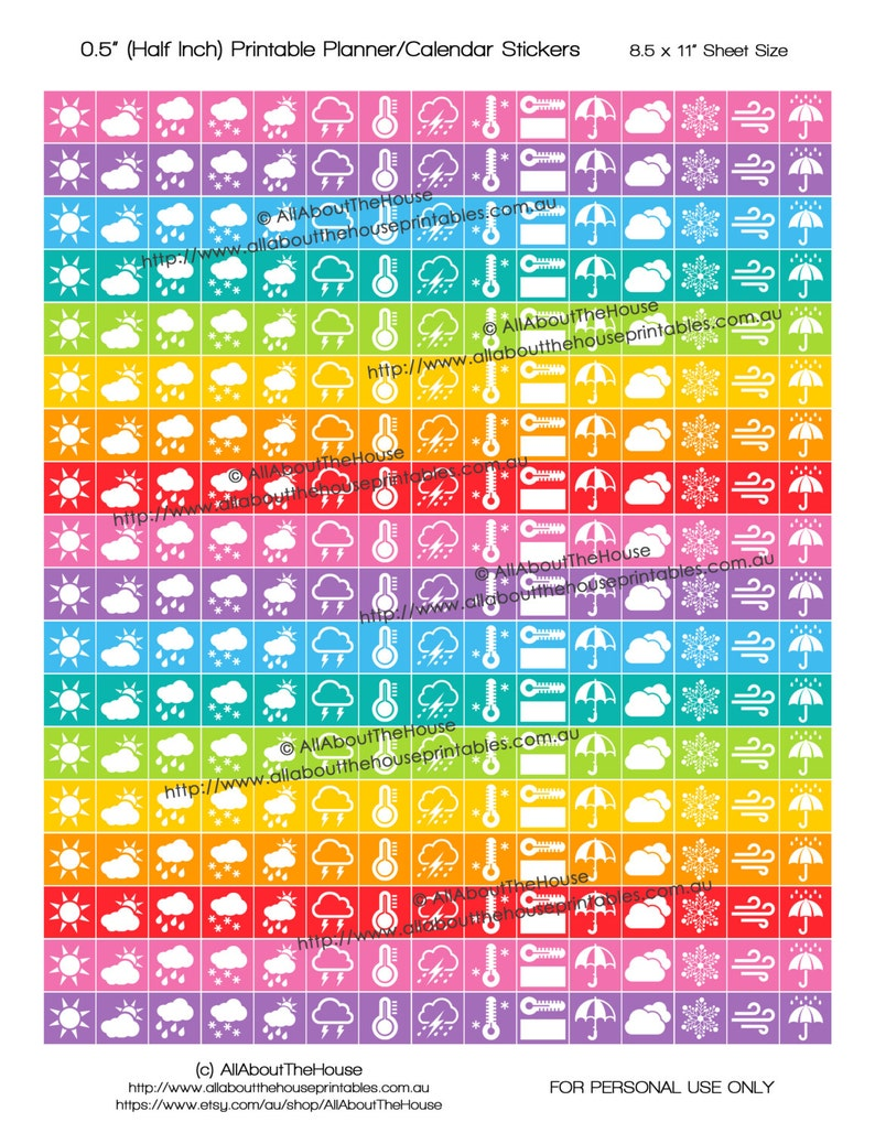 Weather Planner Stickers Printable 1/2 inch Square Rainbow image 0