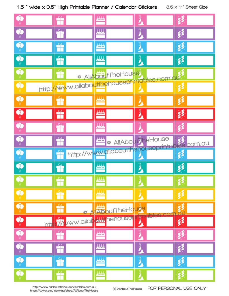 photograph relating to Printable Planner Stickers titled Birthday Stickers Printable Calendar / Planner Stickers 1 1.5\