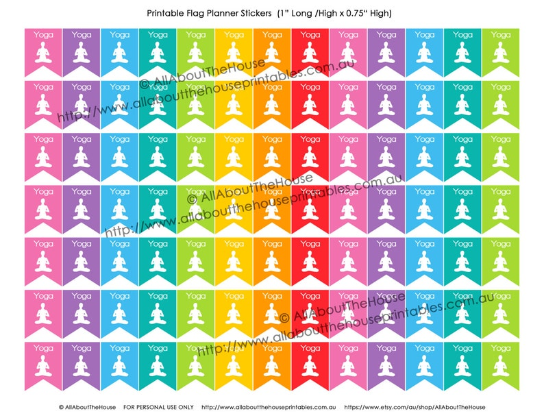 Yoga Planner Stickers Printable Flag Banner 1 H x image 0