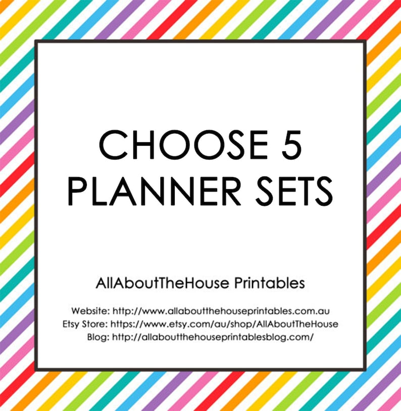 Choose 5 Planner Printable Sets  Create Your Own Planner image 0