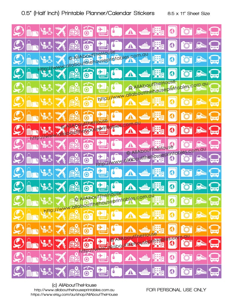 Travel Planner Stickers Printable Rainbow icons vacation image 0