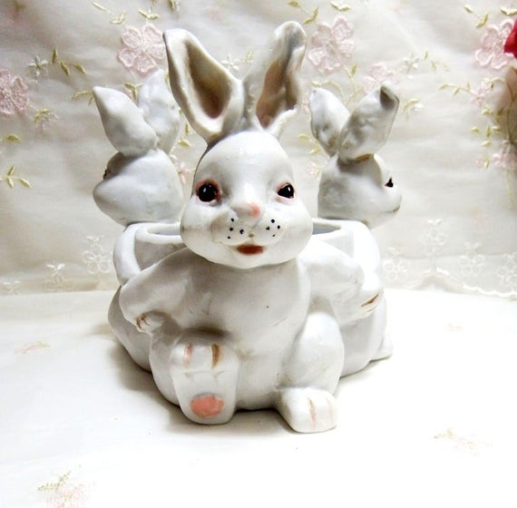Vintage White Ceramic Bunnies Candle Holder Candy