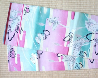 Pastel butterfly fukuro obi, pastel pink Fukuro obi, vintage silk obi belt mint green, butterfly Japanese decoration, darari fukuro obi cute