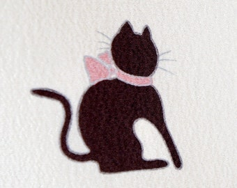 Japanese Authentic kimono - MINT, cute kitten with bows Japanese kimono flawless polyester washable, cat komon, awase modern robe 163 cm