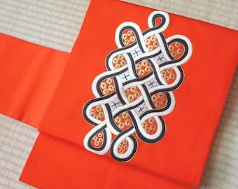 Japanese obi belt orange mandala, retro modern Nagoya obi, vintage silk obi belt orange, floral obi flower embroidered kimono, obi sash