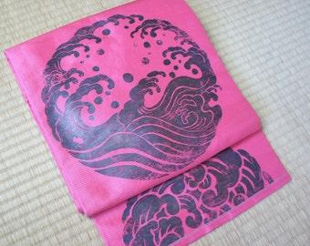 Pink hokusai wave Nagoya obi, pink Japanese summer obi, pink ro obi belt, vintage obi minimalist modern kimono ro silk, Japan wave design