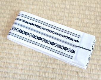 White mens obi belt, Japanese obi belt for men, reversible kaku obi, cotton obi belt minimalist, mens hakata obi belt white black new stripe