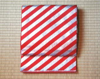 Japanese obi belt red silver stripes, candy cane stripe Fukuro obi, vintage obi belt, Japanese kimono belt, red silver geometric cool Japan