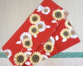 Red yukata with sunflower...