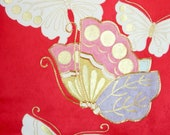 Pink Red Butterfly Silk F...