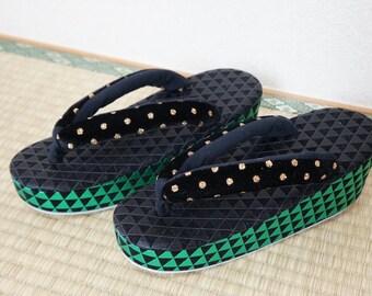 SALZ Tokyo Original zouri sandals green black, MADE to ORDER kimono sandals, Japanese sandals, velvet zori thong sandals, modern geometric