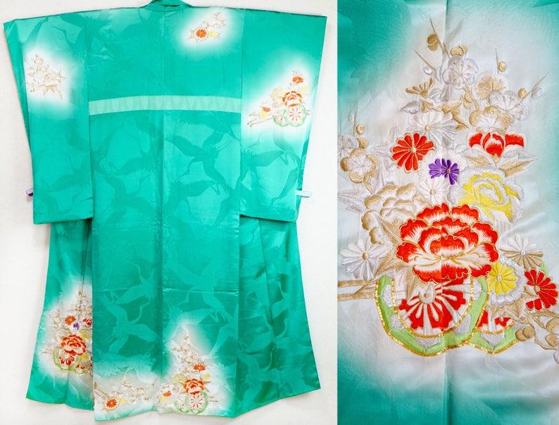 Antique emerald green embroidered kimono vintage silk kimono  acc13f143