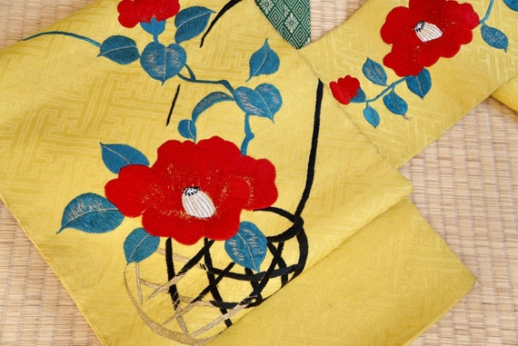 Nagoya Obi Belt, antique mustard yellow Japanese o