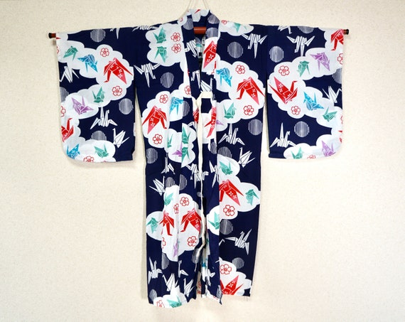 Yukata for Kids - GREAT, summer kimono navy blue w