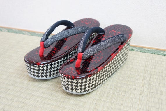 6ec1831c67c6 SALZ Tokyo Original zouri sandals red houndstooth MADE to
