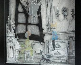 Original illustration volume Ghost Haunted House - Diorama Black White - Shadow Box 3D - Frame Halloween Decoration - OOAK
