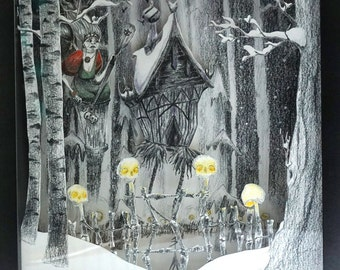 Original illustration volume Baba Yaga Witch - Diorama Black White - Shadow Box 3D - Frame Halloween Decoration - OOAK