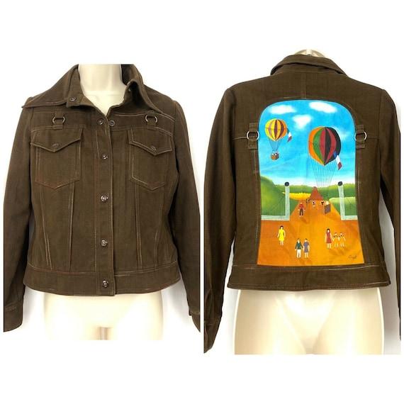 Vintage 70s Roncelli Painted Denim Jacket 11/12 Br