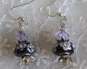 EARRINGS LAMP WORKbeads Swarovski crystals purple
