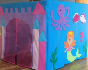 Card Table Playhouse - Mermaid Castle Felt Card Table Play Tent, READY TO SHIP! Under the Sea Birthday Party Prop, Girls Play Tent
