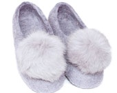 Felt Mongolian Kazakh wool slippers warm winter with pon pon
