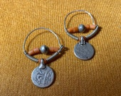 Uzbek Uzbekistan earrings vintage antique silver handmade from Tashkent with coral