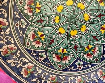 Handmade ceramic dish uzbek style for rice and food plate decoration decorative ceramic