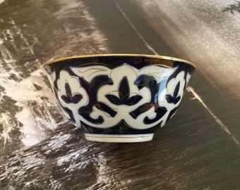 Uzbek Kazakh traditional Bowl cup with blue and gold design tea cup piala kese