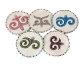 Felt Mongolian Kazakh Painting coaster hadmade with traditional simbols