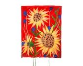 Felt Mongolian Kazakh Painting Panel handmade with sunflowers