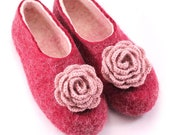 Embroided Felt Mongolian Kazakh wool slippers warm winter with design