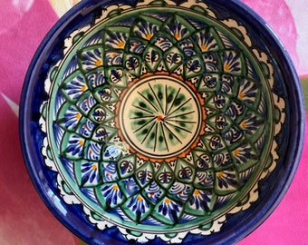 Uzbek Kazakh traditional Bowl cup with blue red and gold design tea cup piala kese 15 cm
