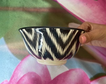 Uzbek traditional Bowl cup with blue and gold design tea cup vintage style