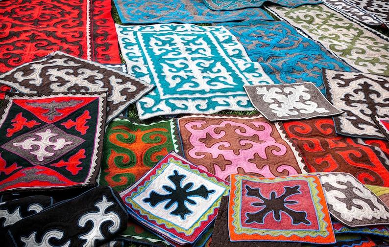 Handmade Shyrdak from Western Mongolia with custom size Syrmak felt rug carpet