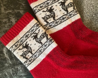 Mongolian Adults 100% Cashmere Socks Handmade Sheep Wool red