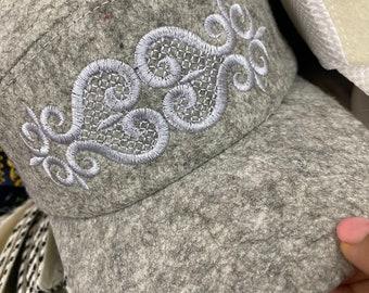 Kazakh hat Asian Kyrgyz felt wool kufi fall cap headwear with ornament grey white