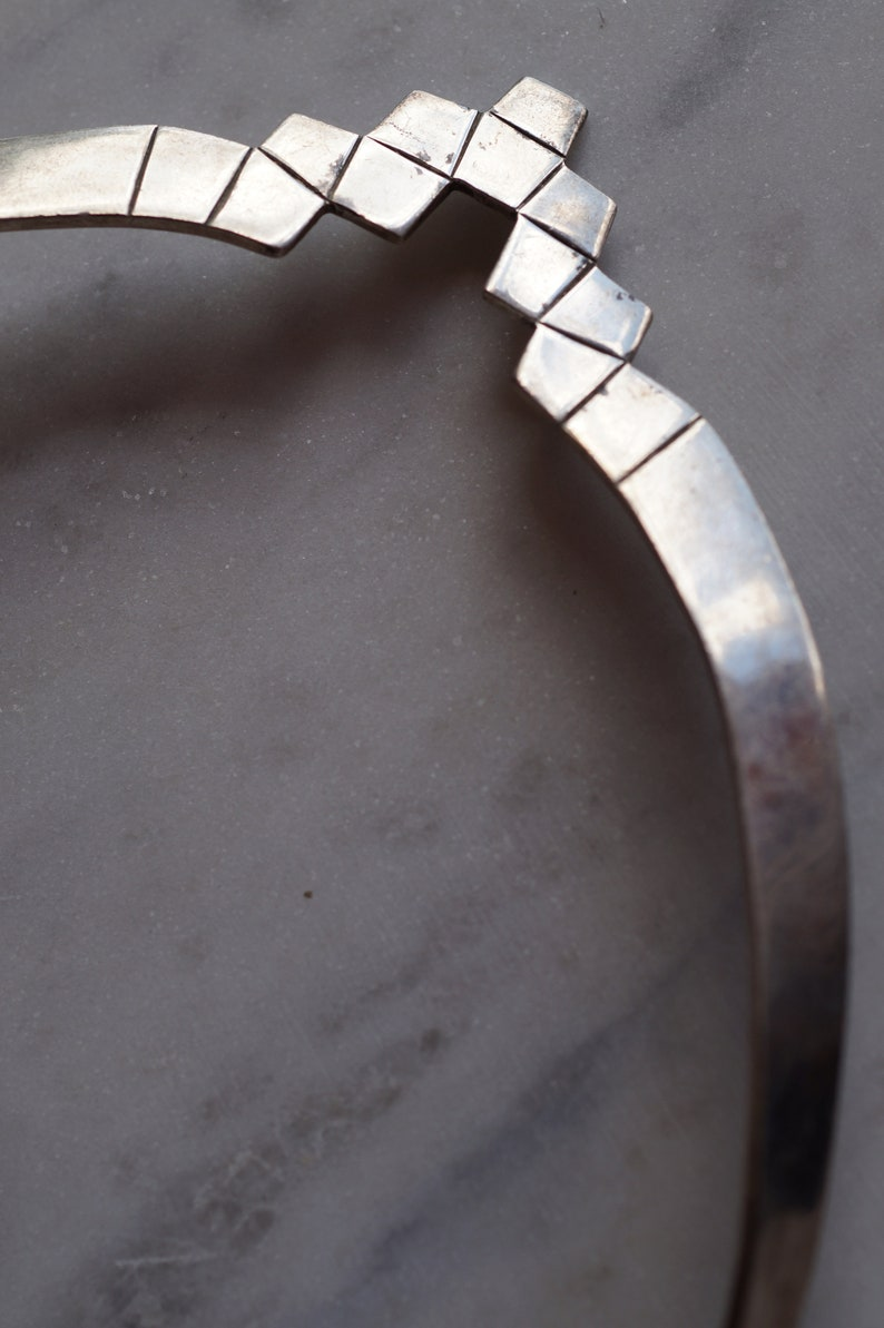 1970/'s Taxco Mexico Modernist Sterling Silver Choker Necklace TC-75