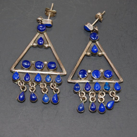 Taxco Sterling Silver Lapis Chandelier Statement E