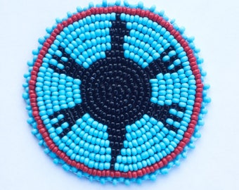 2 . 5 inch TURTLE BLUE Beaded Rosette