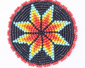 2 . 5 inch Coloured STAR on BLACK Beaded Rosette