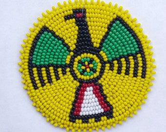 2 . 5 inch Thunderbird YELLOW Beaded Rosette