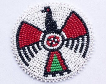 2 . 5 inch Coloured Thunderbird on White Beaded Rosette