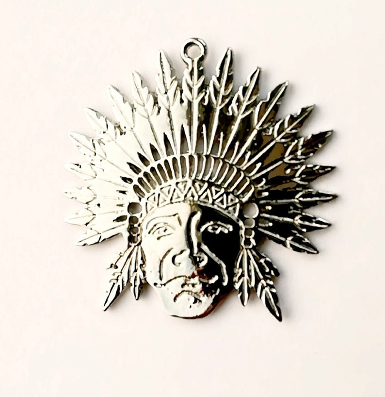 Tribal Native Indian head pendant for jewellery making 6x6cm