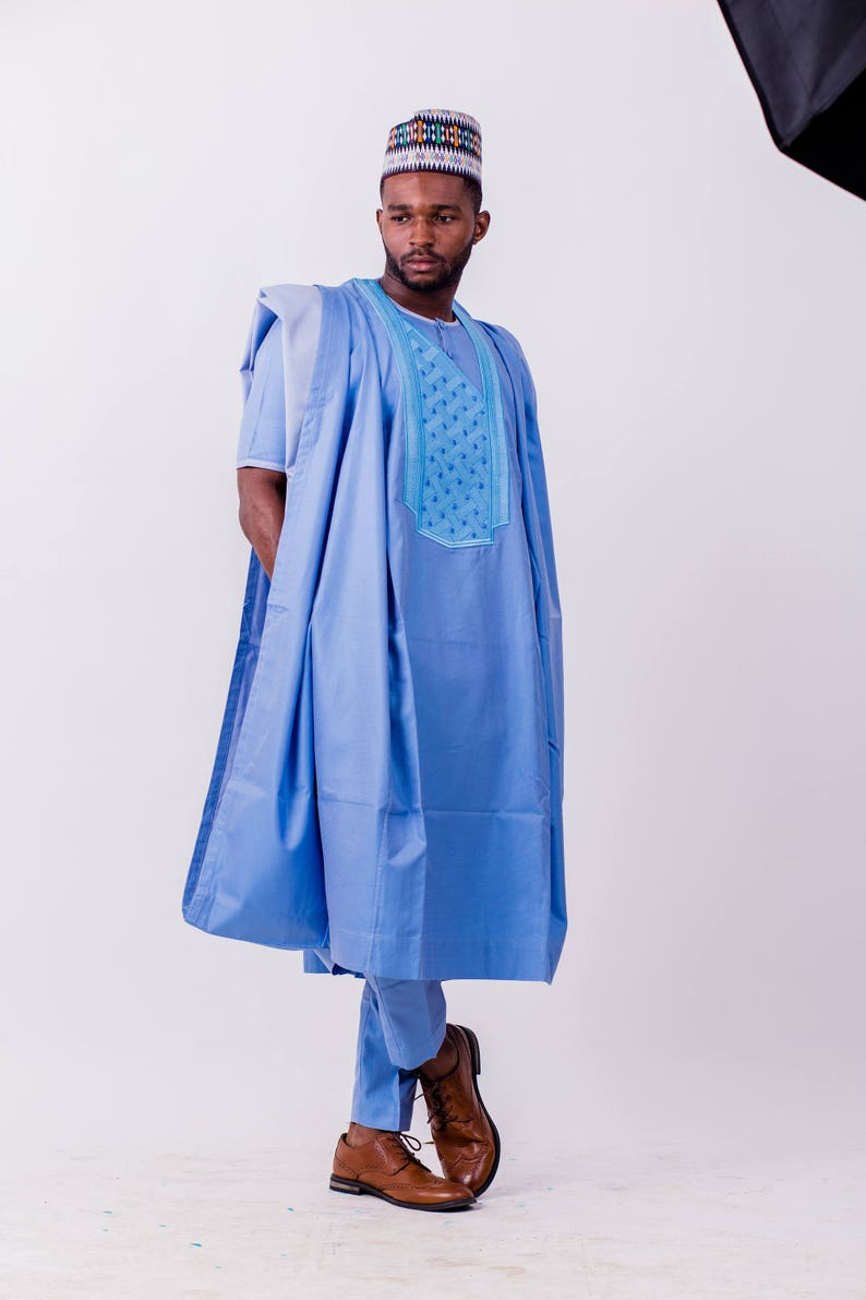 Light Blue Agbada With Turn Up detailing /& Dotted Chest