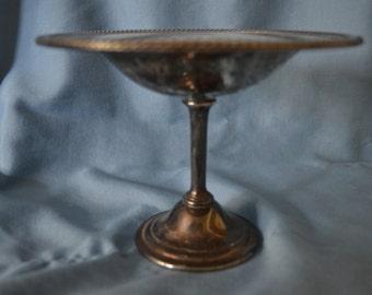Vintage Silverplate Pedestal Dish, Wm. Rogers