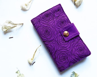 Floral fabric iPhone 7 wallet embroidered, phone wallet, iPhone wallet case, rose quilted wallet, smartphone wallet, roses custom phone case