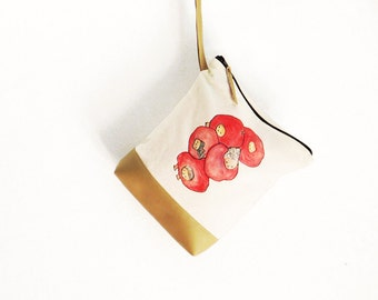 Fold over pouch bag, fold over zipper Clutch, whimsical handbag, cute vegan bag, toiletry bag, travel makeup valentine's gift for vegan