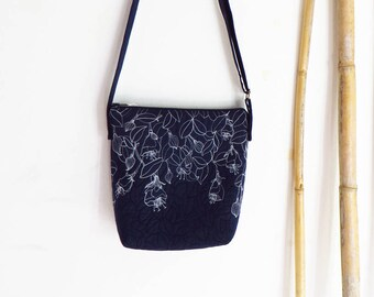 FUCHSIA  navy blue floral handbag embroidered shoulder bag quilted, artistic textile art women's handbag, floral small daily crossbody bag